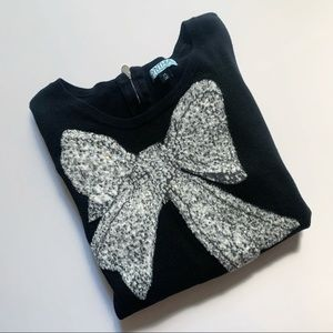 Cynthia Rowley• silver bow quarter sleeve sweater